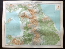 Bartholomew 1922 Large Map. England & Wales, Northern Section